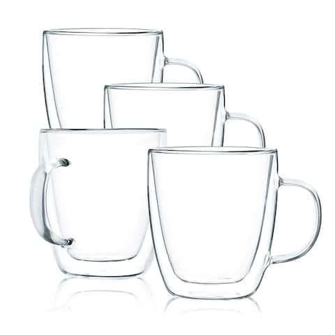 JavaFly Double Wall Glass Mug, Set of 4, 15.5 oz