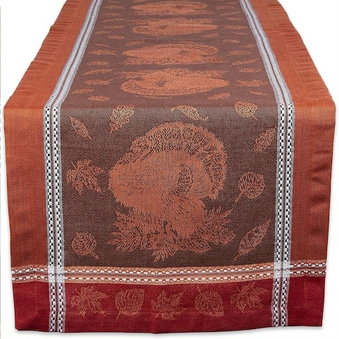 "Cotton Table Runner Harvest Feast 14"" x 72"""