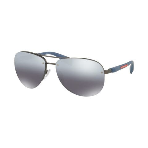 Prada Linea Rossa PS 56MS DG12F2 65 Gunmetal Rubber Man Pilot Sunglasses