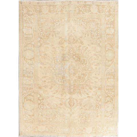 Vintage Hand Knotted Muted Distressed Tabriz Persian Area Rug - 8' 11'' X 6' 3''