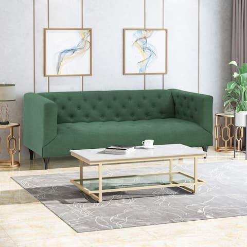 Loomis Contemporary Fabric Upholstered Tufted 3 Seater Sofa by Christopher Knight Home