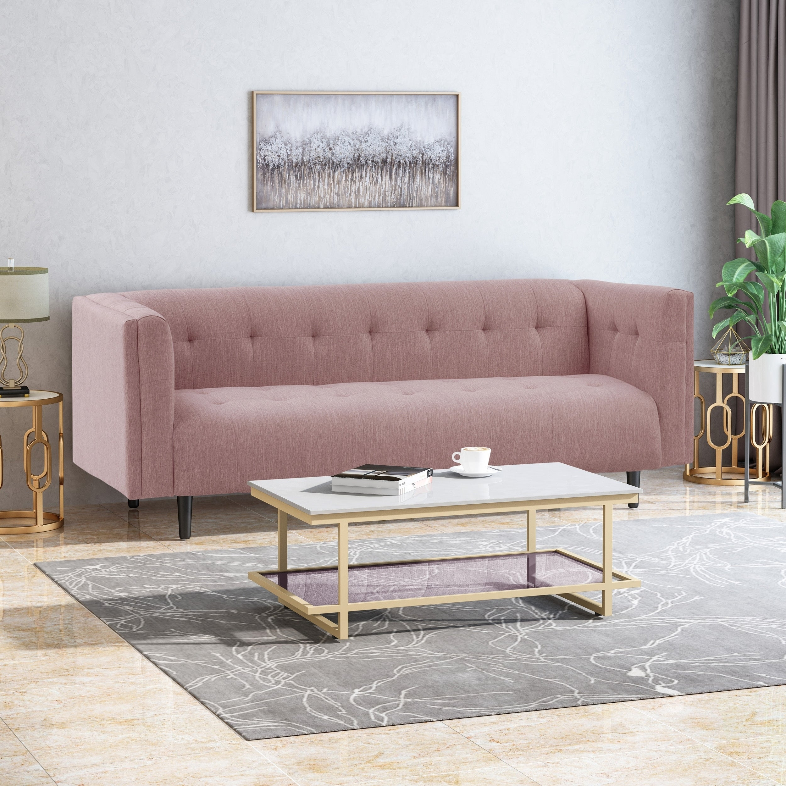 Shop Ludwig Mid-Century Modern Fabric Upholstered Tufted 3 Seater ...