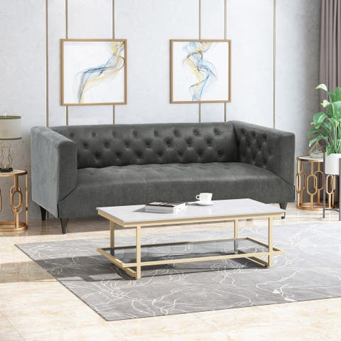 Loomis Contemporary Microfiber Upholstered Tufted 3 Seater Sofa by Christopher Knight Home