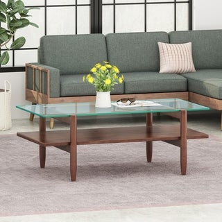 Leddy Acacia Wood Coffee Table with Tempered Glass Top by Christopher Knight Home
