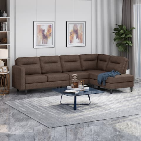 Ledgemere Modern Fabric Upholstered 4 Seater Sectional Sofa with Chaise Lounge by Christopher Knight Home