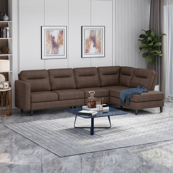 Ledgemere Modern Fabric Upholstered 4 Seater Sectional Sofa with Chaise Lounge by Christopher Knight Home. Opens flyout.