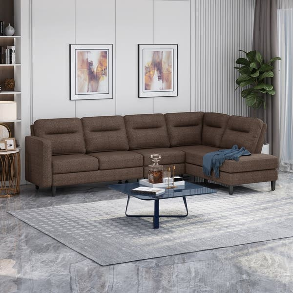 Shop Ledgemere Modern Fabric Upholstered 4 Seater Sectional ...