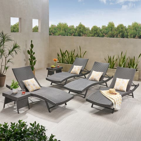 Kauai Outdoor 6 Piece Wicker Chaise Lounge Set by Christopher Knight Home