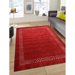 Modern Oriental Gabbeh Silk Area Rug Indian Hand Knotted Carpet