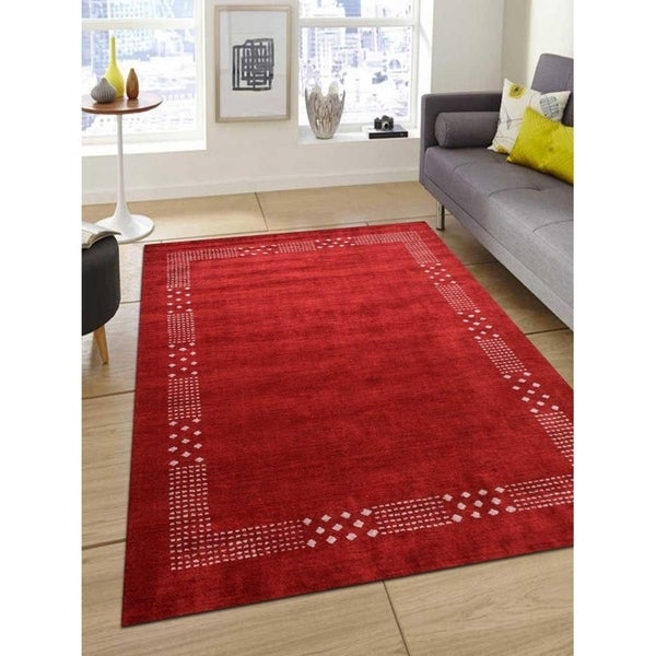 Modern Oriental Gabbeh Silk Area Rug Indian Hand Knotted Carpet