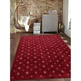 Modern Oriental Silk Carpet Indian Hand Knotted Gabbeh Area Rug
