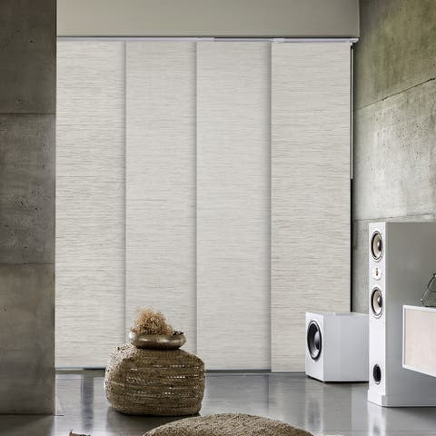 "GoDear Design Blackout Natural Woven Adjustable Sliding Panel, 45.8""- 86"" W x 96"" L"