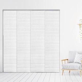 """GoDear Design Natural Woven Adjustable Sliding Panel, Pleated Fabric, 45.8""""- 86"""" W x 96"""" L"""