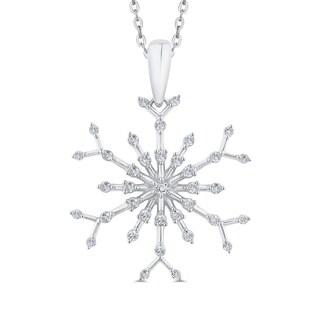 10K White Gold 1 3ct TDW Diamond Snowflake Pendant I J I1