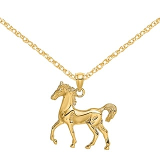 Versil 14 Karat Yellow Gold 2 D Standing Horse Charm With 18 Inch Chain