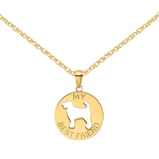 Versil 14 Karat Yellow Gold My Best Friend With Dog Charm With 18 Inch Chain
