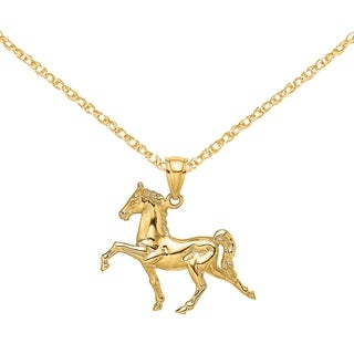 Versil 14 Karat Yellow Gold 3 D Tennessee Walking Horse Charm With 18 Inch Chain