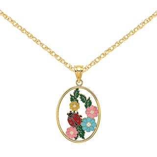Versil 14 Karat Yellow Gold Stained Glass With Enamel Oval Ladybug Charm With 18 Inch Chain