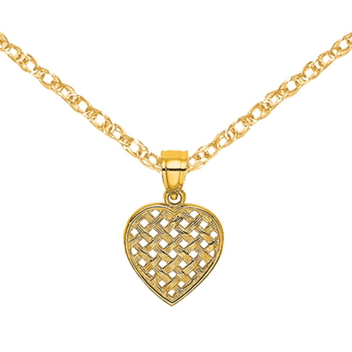 14K Gold Cut-Out And Textured Woven Heart Charm Pendant