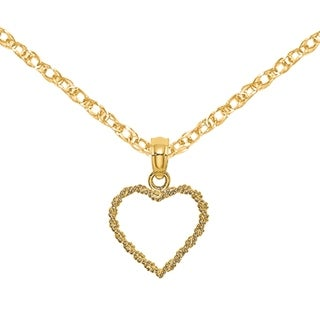 Versil 14 Karat Yellow Gold 3 D Cut Out Rope Heart Charm With 18 Inch Chain