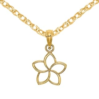Versil 14 Karat Yellow Gold Cut Out Flower Charm With 18 Inch Chain