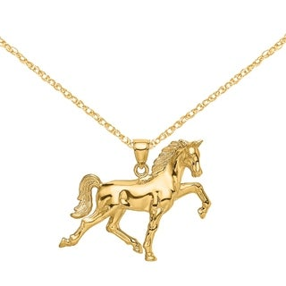 Versil 14 Karat Yellow Gold Hollow Polished 3 D Horse Charm With 18 Inch Chain
