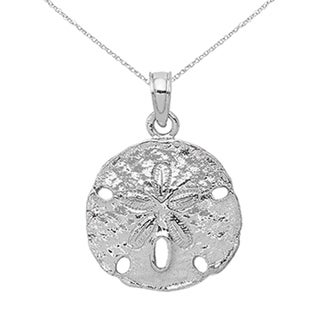 Versil 14 Karat White Gold Sand Dollar Charm With 18 Inch Chain