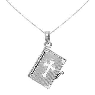 Versil 14 Karat White Gold 3 D Moveable Page Bible Book With Cross Cover Pendant With 18 Inch Chain