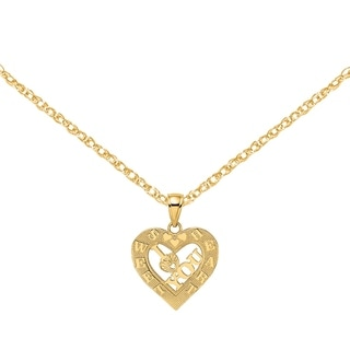Versil 14 Karat Yellow Gold I Heart You In Sweetheart Heart Frame Charm With 18 Inch Chain