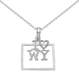 Versil 14 Karat White Gold Solid Wyoming State Pendant With 18 Inch Chain
