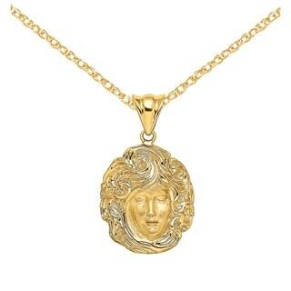 Versil 14 Karat Yellow Gold Swirling Hair Women Face Charm With 18 Inch Chain