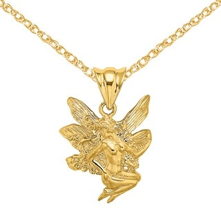 Versil 14 Karat Yellow Gold Fairy Charm With 18 Inch Chain
