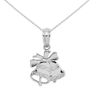 Versil 14 Karat White Gold Polished Christmas Bells Pendant With 18 Inch Chain