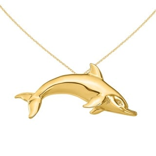 Versil 14 Karat Yellow Gold Swimming Dolphin Slide Charm With 18 Inch Chain