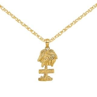 Versil 14 Karat Yellow Gold St George Palm Tree Charm With 18 Inch Chain