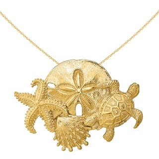 Versil 14 Karat Yellow Gold Sea Life Cluster Slide Charm With 18 Inch Chain