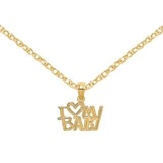 Versil 14 Karat Yellow Gold I Heart My Baby Charm With 18 Inch Chain