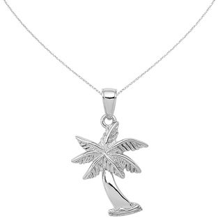 Versil 14 Karat White Gold Palm Tree Pendant With 18 Inch Chain