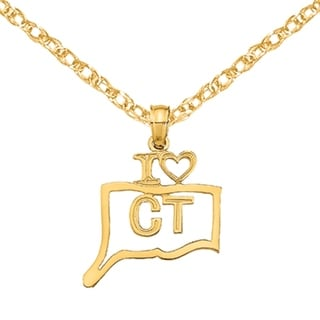 Versil 14 Karat Yellow Gold Solid Connecticut State Pendant With 18 Inch Chain