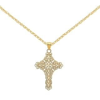 Versil 14 Karat Yellow Gold White Enamel Filigree Cross Charm With 18 Inch Chain