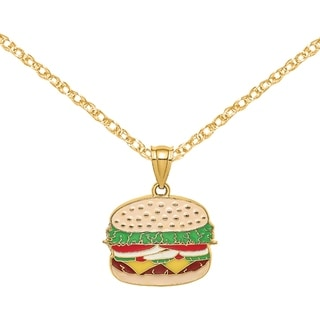 Versil 14 Karat Yellow Gold Cheeseburger Charm With Enamel With 18 Inch Chain