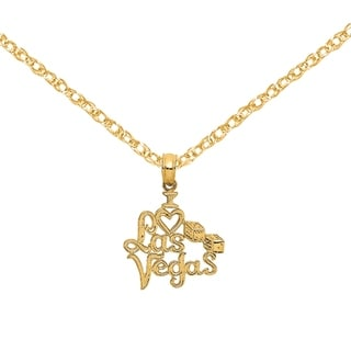 Versil 14 Karat Yellow Gold Polished I Heart Las Vegas With Dice Engraved Charm With 18 Inch Chain