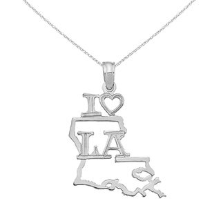 Versil 14 Karat White Gold Solid Louisiana State Pendant With 18 Inch Chain