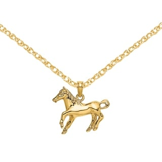 Versil 14 Karat Yellow Gold 2 D Galloping Horse Charm With 18 Inch Chain