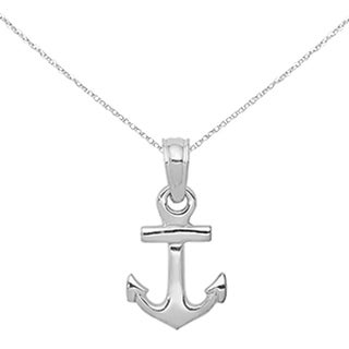 Versil 14 Karat White Gold 3 D Mini Anchor Pendant With 18 Inch Chain
