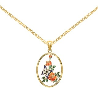 Versil 14 Karat Yellow Gold Enamel Butterfly In Oval With Orange Flowers Charm With 18 Inch Chain
