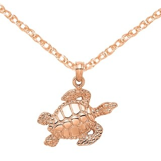 Versil 14 Karat Rose Gold Textured Sea Turtle Charm With 18 Inch Chain