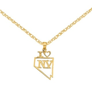 Versil 14 Karat Yellow Gold Solid Nevada State Pendant With 18 Inch Chain