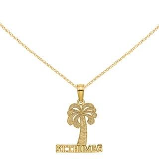 Versil 14 Karat Yellow Gold St Thomas Under Palm Tree Charm With 18 Inch Chain