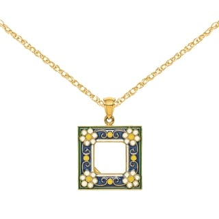 Versil 14 Karat Yellow Gold Navy Picture Frame With White Flowers Charm With 18 Inch Chain